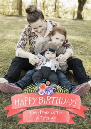 Greeting Cards - Coral Birthday Banner With Floral Details Personalised Photo Upload Birthday Card - Image 1