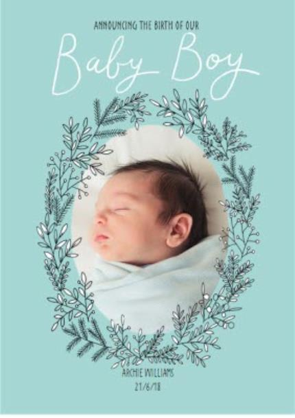 Greeting Cards - Announcing Our Baby Boy Photo Upload Card - Image 1
