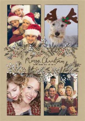 Greeting Cards - Botany Merry Christmas 4 Photo Upload Card - Image 1