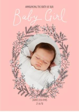 Greeting Cards - Announcing Our Baby Girl Photo Upload Card - Image 1