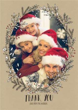 Greeting Cards - Botany Thank You Christmas Photo Upload Card - Image 1