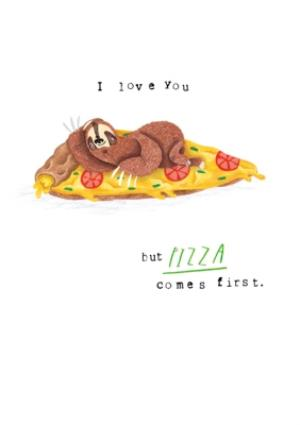 Greeting Cards - Animal card - sloth - pizza - quick card - just a note - Image 1