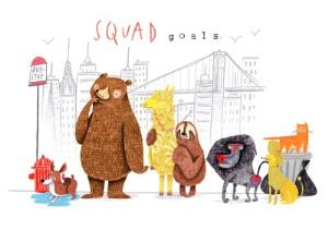 Greeting Cards - Animal birthday card - squad goals - Image 1