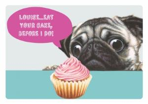 Pug Cupcake Birthday Card