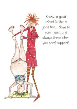Greeting Cards - A Good Friend Is Like A Good Bra Funny Personalised Card - Image 1