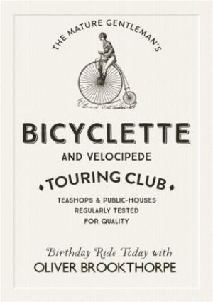 Greeting Cards - Bicyclette Touring Club Personalised Name Card - Image 1