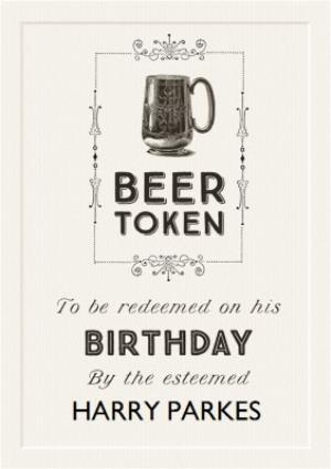 Greeting Cards - Cartouche Beer Token Birthday Card  - Image 1