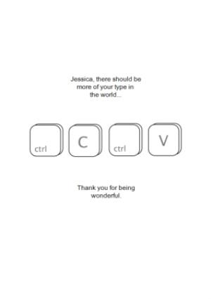 Greeting Cards - Ctrl C And Ctrl V Personalised Thank You Card - Image 1