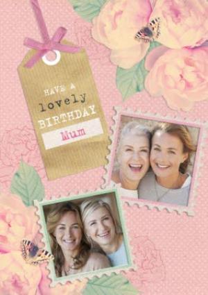 Greeting Cards - Bright Pink Roses Happy Birthday Mum Card - Image 1