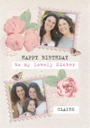 Greeting Cards - Roses And Butterflies Personalised Photo Upload Happy Birthday Card For Sister - Image 1