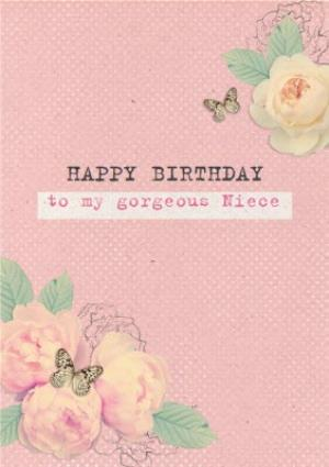 Greeting Cards - Bright Pink Roses Happy Birthday Niece Card - Image 1