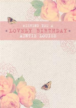 Greeting Cards - Pink Roses And Fluttering Butterflies Personalised Happy Birthday Card - Image 1