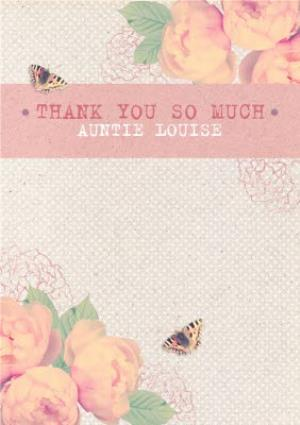 Greeting Cards - Pink And Peach Flowers Personalised Thank You Card For Aunt - Image 1