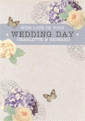 Greeting Cards - Buds In Bloom And Butterflies Personalised Wedding Day Card - Image 1