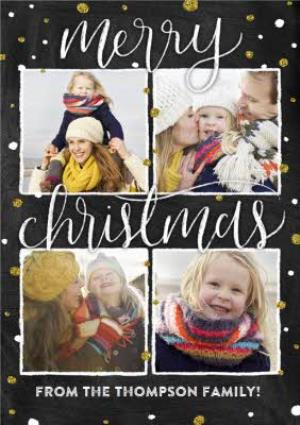 Greeting Cards - Black And Gold Spots Photo Grid Personalised Christmas Card - Image 1