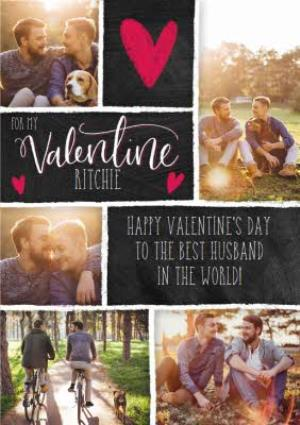 Greeting Cards - Chalkboard Style Personalised Multi Photo Upload Happy Valentine's Day Card For Husband - Image 1