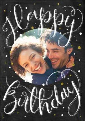 Greeting Cards - Calligraphy Photo Upload Birthday Card - Image 1
