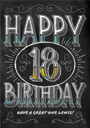 Greeting Cards - Chalkboard Style Personalised Happy 18th Birthday Card - Image 1