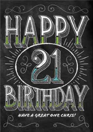 Greeting Cards - Black And White Chalk Style Personalised Happy 21st Birthday Card - Image 1