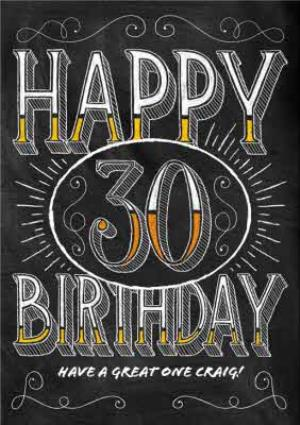 Greeting Cards - Chalkboard Style Personalised Happy 30th Birthday Card - Image 1