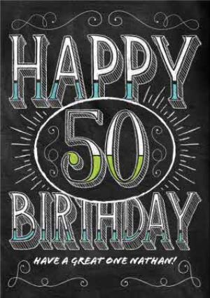 Greeting Cards - Chalkboard Style Personalised Happy 50th Birthday Card - Image 1