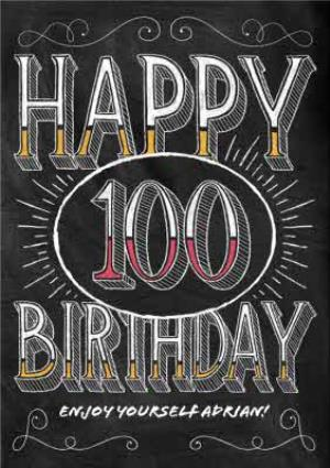 Greeting Cards - Chalkboard Style Personalised Happy 100th Birthday Card - Image 1