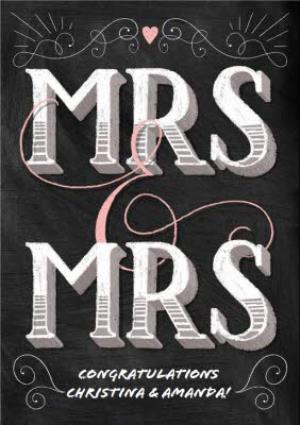 Greeting Cards - Block Letters Mrs And Mrs Wedding Card - Image 1