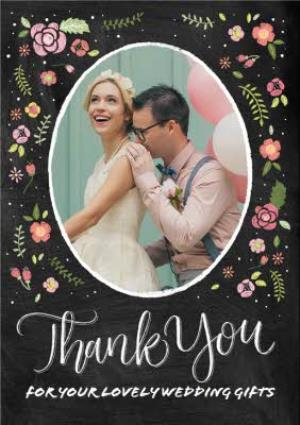 Greeting Cards - Colourful Flowers Wedding Thank You Photo Card - Image 1