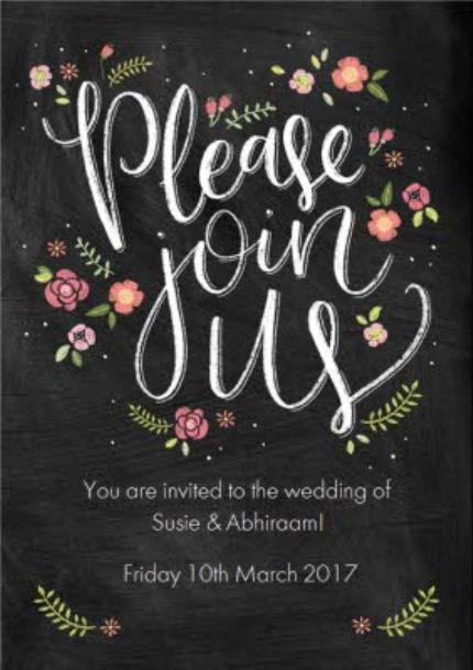 Greeting Cards - Chalkboard Style Please Join Us Personalised Wedding Invite Card - Image 1