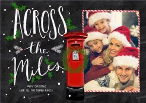 Greeting Cards - Chalk Board Across The Miles Christmas Photo Card - Image 1