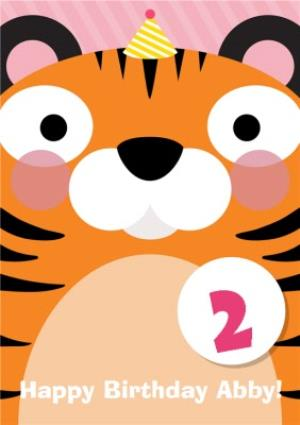Greeting Cards - Cartoon Tiger Personalised Happy 2nd Birthday Card - Image 1