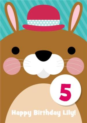 Greeting Cards - Cartoon Bunny In Hat Personalised Happy 5th Birthday Card - Image 1