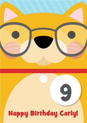 Greeting Cards - Cartoon Cat With Glasses Personalised Happy 9th Birthday Card - Image 1