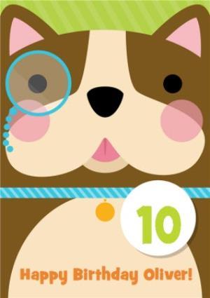 Greeting Cards - Cartoon Dog Personalised Kids Birthday Card - Image 1