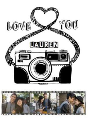 Greeting Cards - Camera Drawing Love You Photo Strip Card - Image 1