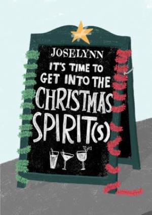 Greeting Cards - Christmas Card - Pub Sign - Christmas Spirit - Drinking - Image 1