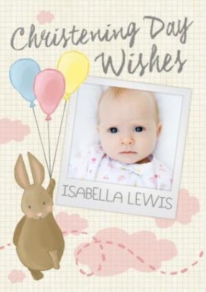 Greeting Cards - Bunny With Balloons Personalised Photo Upload Christening Day Card - Image 1