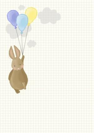 Greeting Cards - Bunny With Balloons Personalised Photo Upload Christening Day Card - Image 2