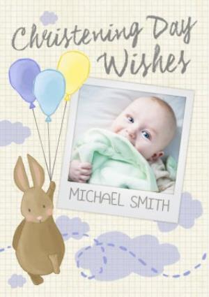 Greeting Cards - Bunny With Balloons Personalised Photo Upload Christening Day Wishes Card - Image 1
