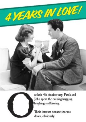 Greeting Cards - Black And White Years In Love Funny Personalised Anniversary Card - Image 1