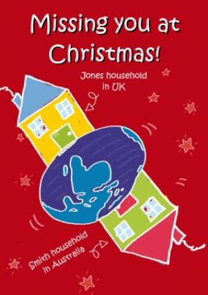 Greeting Cards - Across The Miles Uk To Australia Personalised Christmas Card - Image 1