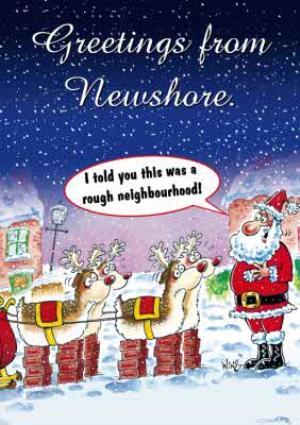 Greeting Cards - Cartoon Santa And His Reindeer Funny Personalised Christmas Card - Image 1