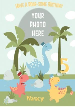 Greeting Cards - Cartoon Dinosaurs Have A Roar-Some 5th Birthday Card - Image 1