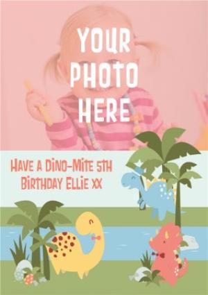 Greeting Cards - Dino-Mite Scene Personalised Photo Upload Happy 5th Birthday Card - Image 1