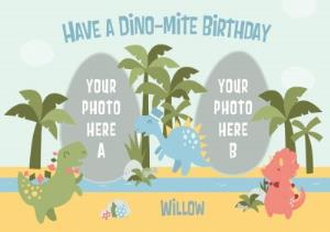 Greeting Cards - Cartoon Dinosaurs Have A Dino-Mite Birthday Photo Card - Image 1
