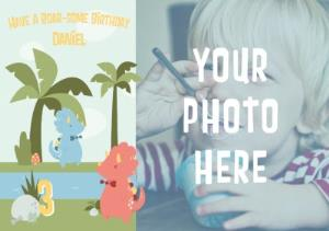 Greeting Cards - Cartoon Dinosaurs Have A Roarsome Birthday Photo Card - Image 1