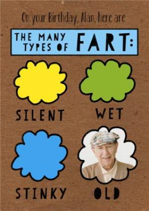 Greeting Cards - All The Types Of Fart Personalised Photo Birthday Card - Image 1