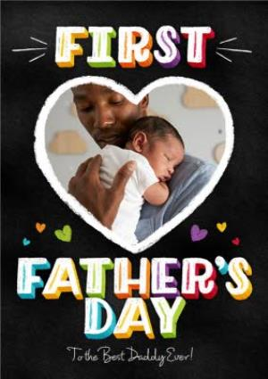 Greeting Cards - First Father's Day Heart Personalised Photo Card - Image 1