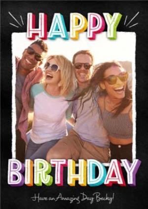 Greeting Cards - Bright Block Letters Happy Birthday Photo Card - Image 1