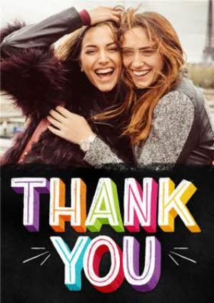 Greeting Cards - Bright Block Letters Thank You Photo Card - Image 1